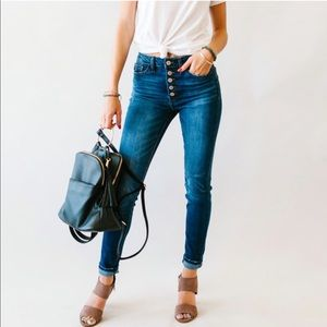 KanCan Dark Wash Button Up High Rise Jeans